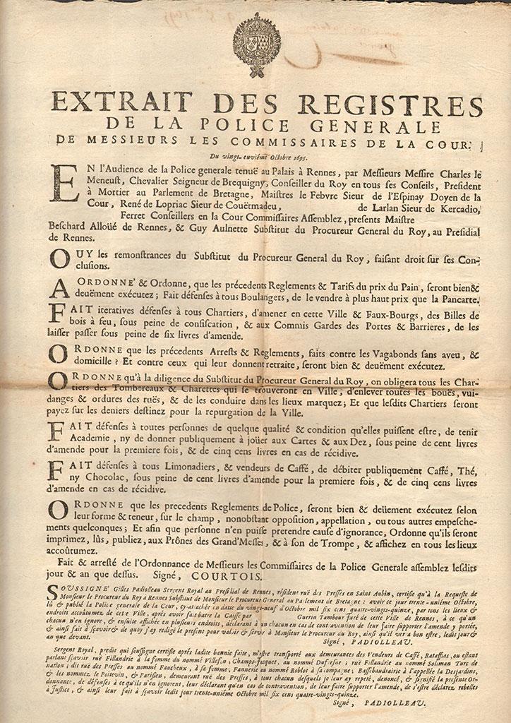 Ordonnance pour l'application de règlements de police concernant notamment le commerce, 1695. FF 171.