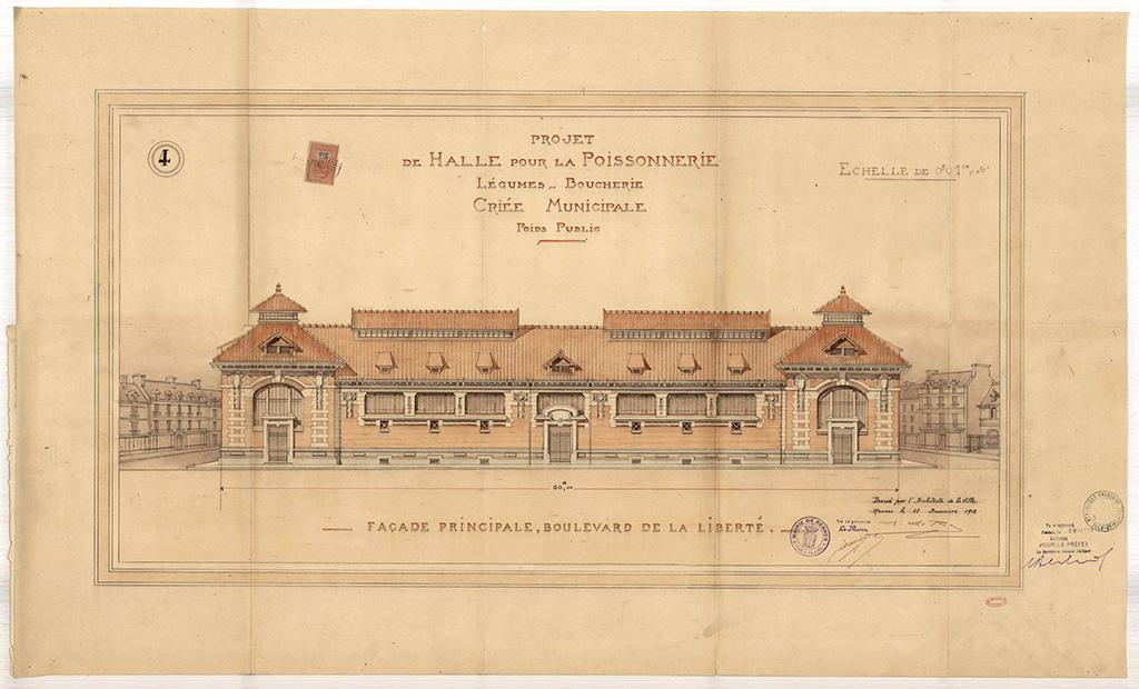 Projet de halle pour la poissonnerie, légumes, boucherie et criée municipale, façade principale boulevard de la Liberté, 1912. 2 Fi 5026.