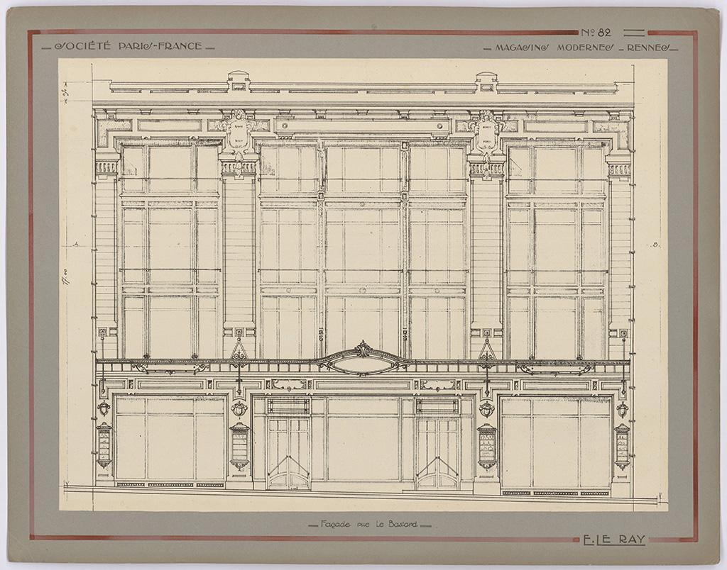 Dessin de la façade des Magasins Modernes par Emmanuel Le Ray, [1926]. 10 Fi 83.