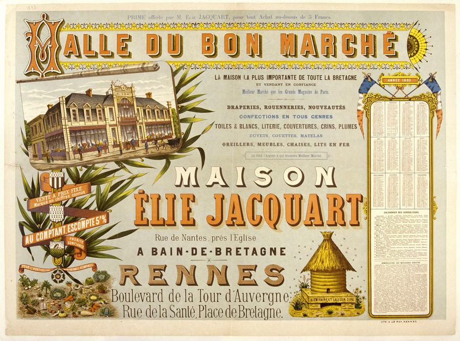 Halle du Bon Marché, maison Elie Jacquart, lithographie, 1893. Coll. Musée de Bretagne.