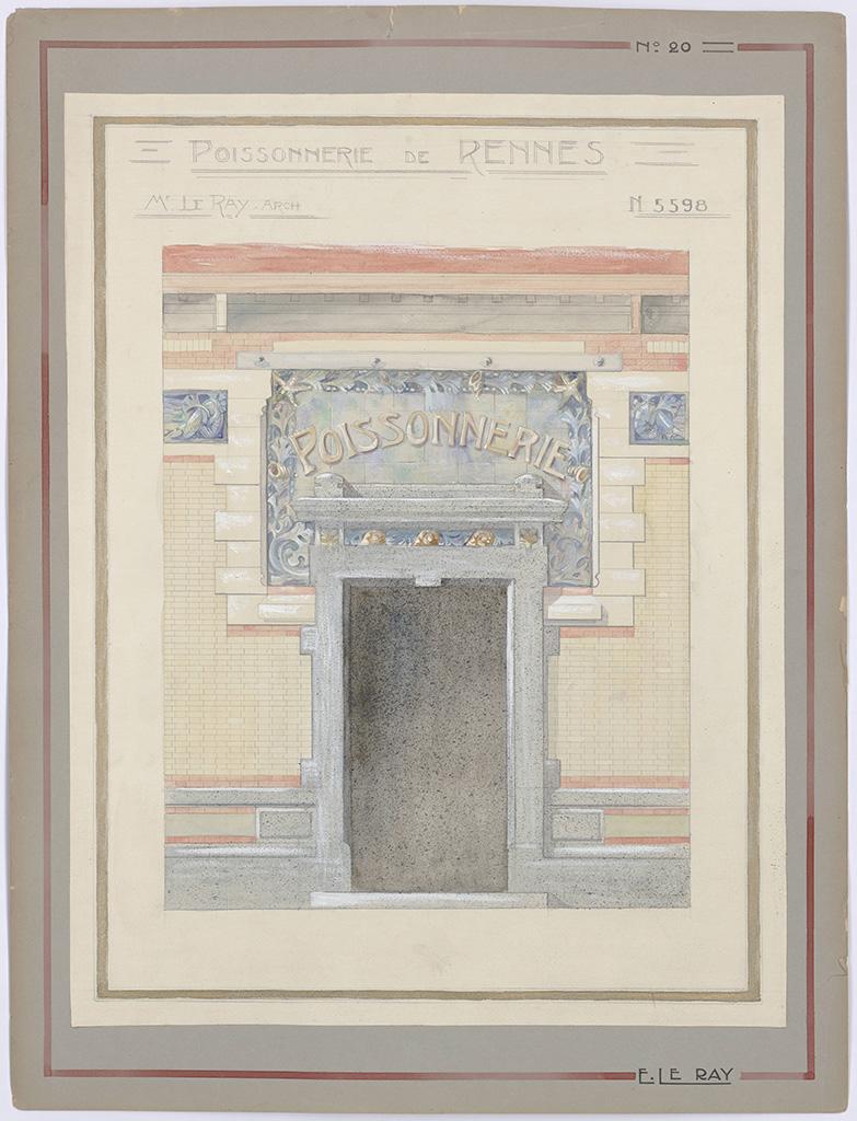 Dessin du décor pour la poissonnerie des halles centrales par Emmanuel Le Ray, 1912. 10 Fi 22.