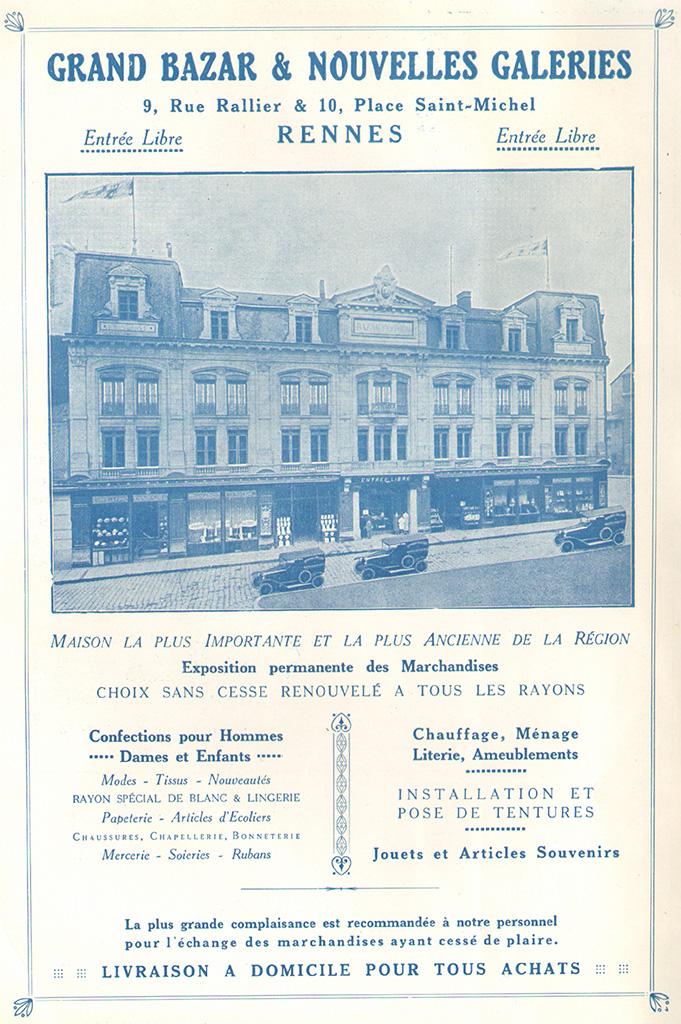 Encart publicitaire du Grand Bazar Parisien et Les Nouvelles Galeries, place Rallier-du-Baty, 1922. 10 Z 26.