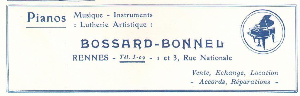 Encarts publicitaires pour la maison Bossard-Bonnel, 1929-1931. 10 Z 26 et 3 R 140.