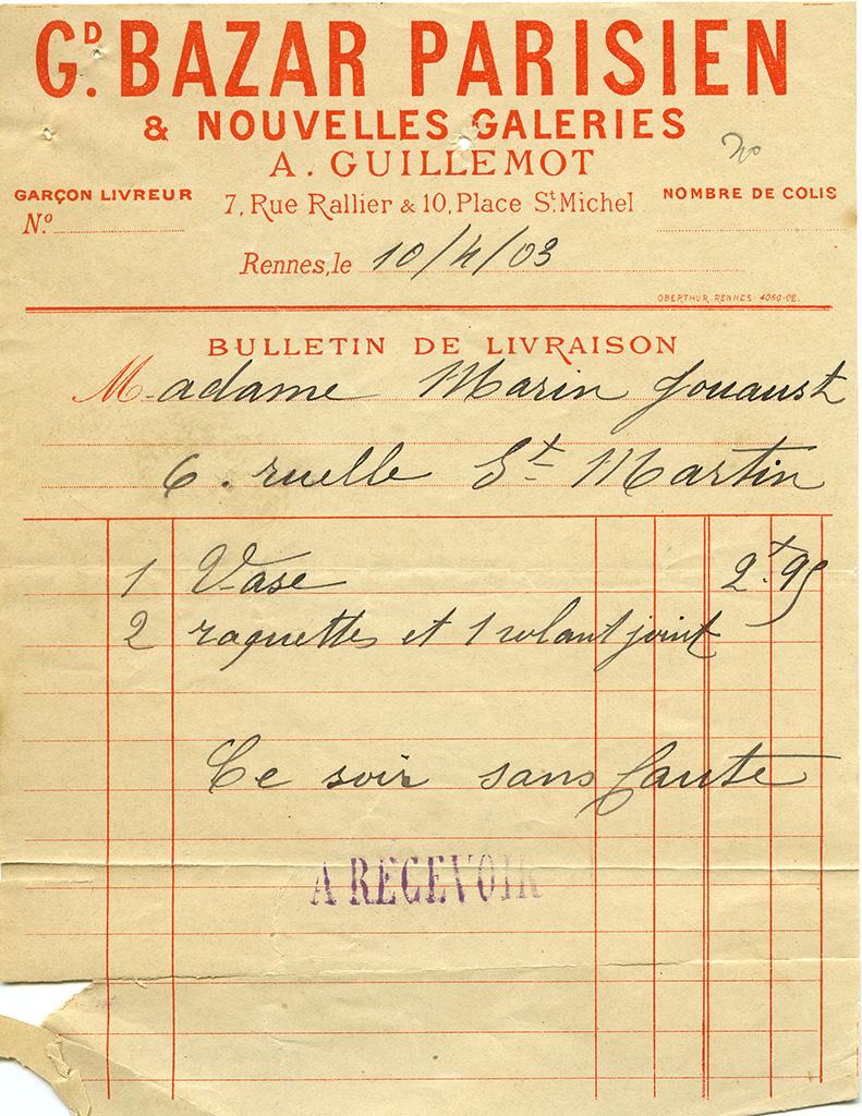 Facture à en-tête du Grand Bazar Parisien et Les Nouvelles Galeries, place Rallier-du-Baty, 1903. 10 Z 39.