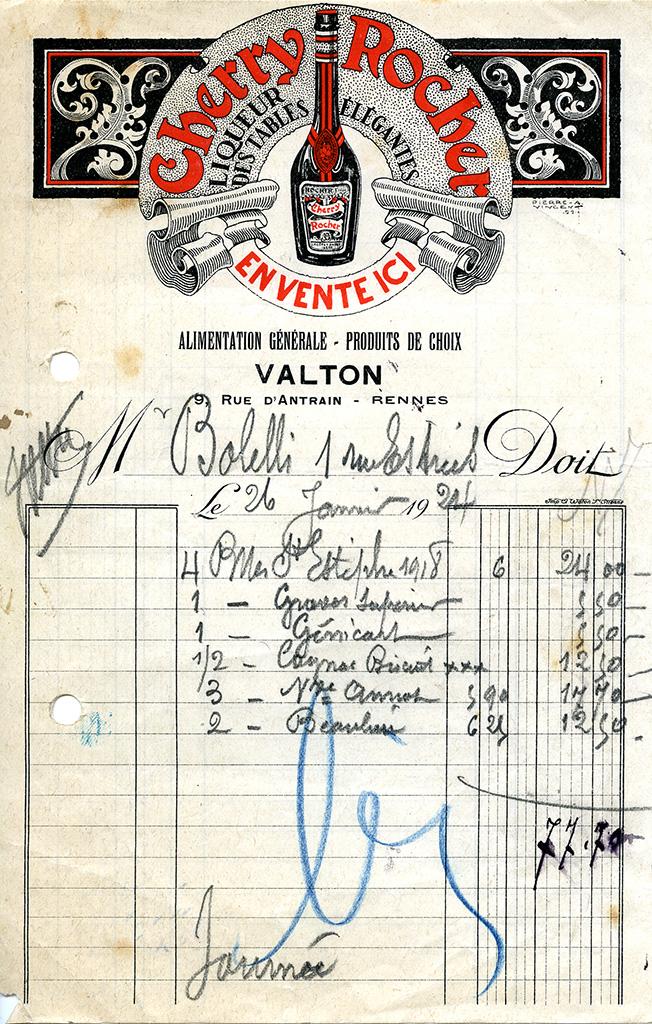 Facture à en-tête de la maison Valton, rue d'Antrain, 1924. 10 Z 39.