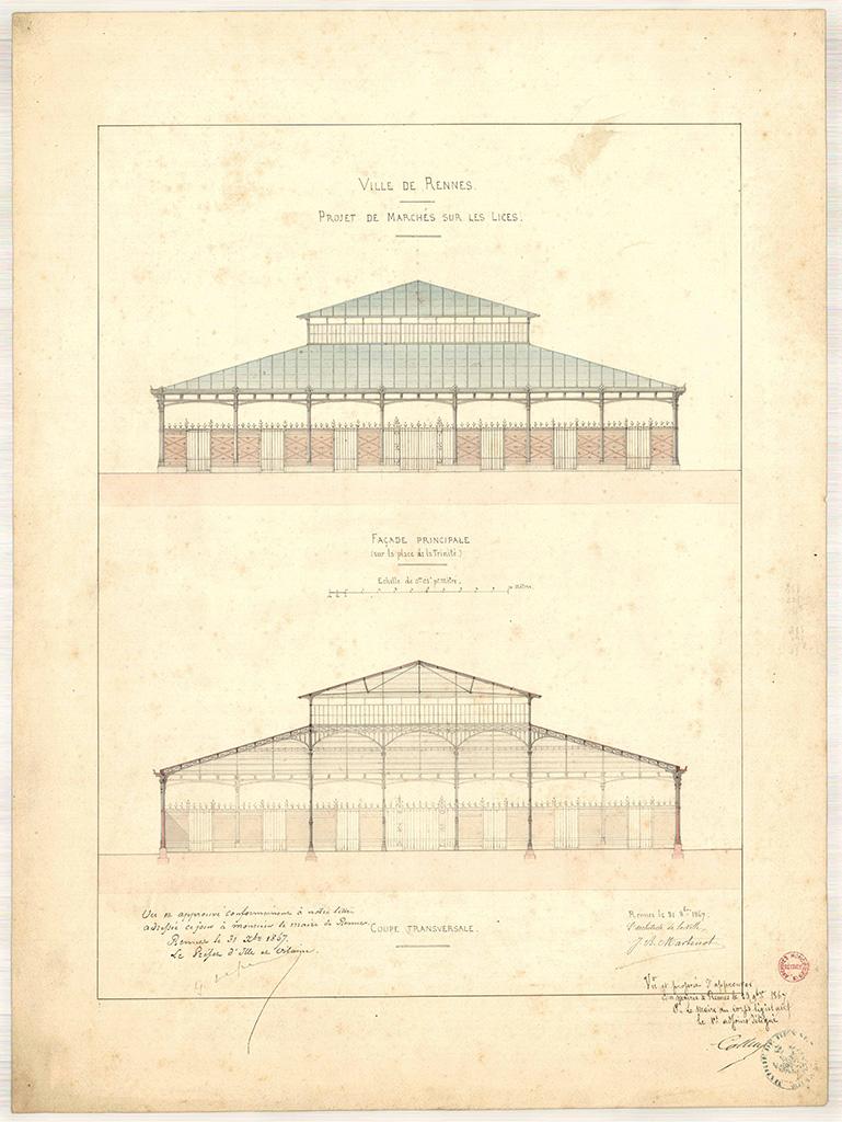 Projet de marchés sur les Lices par Jean-Baptiste Martenot, 1867 et 1868. 2 Fi 611 et 2 Fi 615.