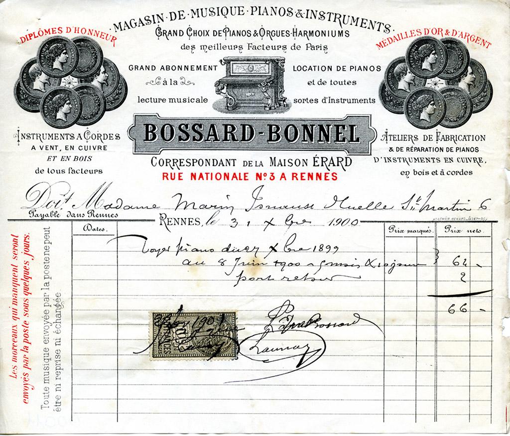 Facture à en-tête, Maison Bossard-Bonnel, 1899. 10 Z 39.