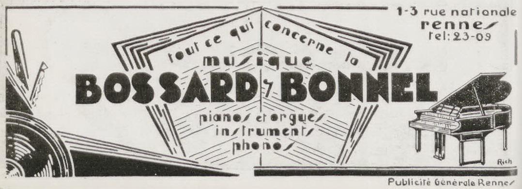 Encarts publicitaires de la maison Bossard-Bonnel, 1907 et 1931. 10 Z 26 et 3 R 139.