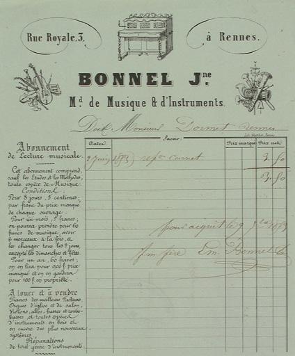Facture à en-tête, Bonnel Jeune magasin de musique et d'instruments, 1853, lithographie. Coll. Musée de Bretagne.